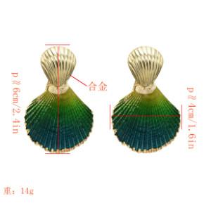E-5269 Simple 8 Colors Gold Alloy Shell Shaped Drop Dangle Earrings For Women