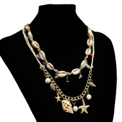 N-7223 Ethnic Beach Natural Sea Shell Chain Necklace For Women Jewerly