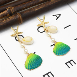 E-5270  8 Colors Gold Plated Zinc Alloy Natural Shell Shaped Star Drop Dangle Earrings For Women