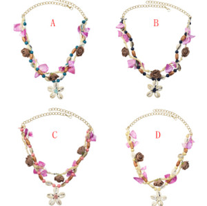 N-7224 Handmade Natural Sea Shell Flower Pendant Necklaces for Women Boho Party Beach Jewelry