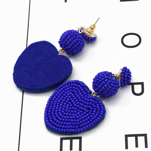 E-5275  4 Colors Beads Ball Dangle Heart Shape Cute Earrings For Women Jewelry
