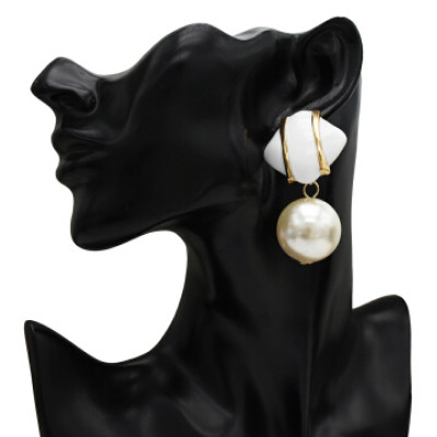 E-5278 Fashion Elegant Gold Big Faux Pearl Square Dangle Earrings Statement For Wedding Women Bijoux Jewelry