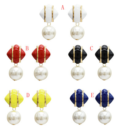 E-5278 Fashion Elegant Gold Big Faux Pearl Square Dangle Earrings Statement For Wedding Women Bijoux Jewelry