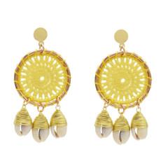 E-5279 Handmade Woven Cotton Natural Sea Shell Drop Dangle Earrings for Women Girl Summer Beach Party Jewelry