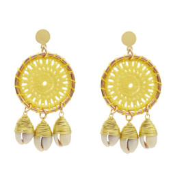 E-5279 Handmade Woven Cotton Natural Sea Shell Drop Dangle Earrings for Women Girl Summer Beach Party Jewelry