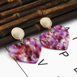 E-5282  3 Colors Acrylic Heart-shaped Earrings Mixed Color Drop Earrings For Women Jewerly
