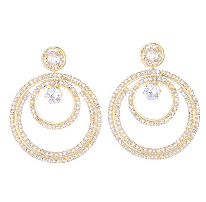 E-5285 Fashion Silver Gold Metal Full Crystal Rhinestone Drop Earrings for Women Bridal Wedding Party Jewelry