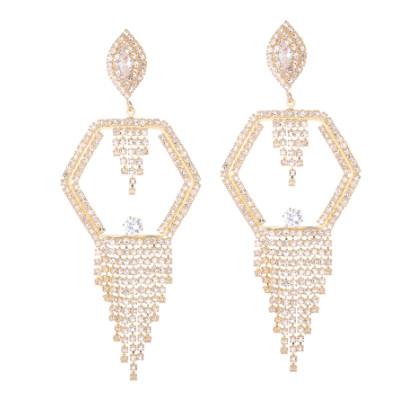 E-5285 Fashion Silver Gold Metal Full Crystal Rhinestone Drop Earrings for Women Bridal Wedding Party Jewelry