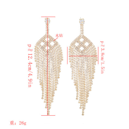 E-5280 Fashion Silver Gold Full Crystal Rhinestone Geometric Drop Earrings for Women Bridal Wedding Party Jewelry
