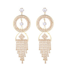 E-5283 Luxury Silver Gold Metal Rhinestone Crystal Dangle Statement Earrings