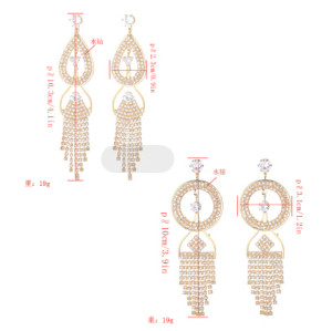 E-5283 Luxury Silver Gold Metal Rhinestone Crystal Dangle Statement Earrings