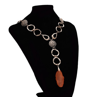 N-7225  2 Colors Multiple Circles Resin Stone Metal Alloy Pendant Necklace for Woman