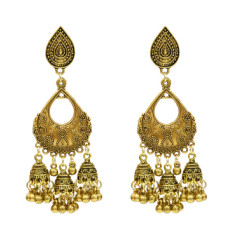 E-5290 Vintage Silver Gold Color Zamak Bells Tassel Statement Earring for Women Indian Party Jewelry