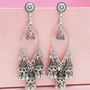 E-5290 Vintage Silver Gold Color Zamak Bells Tassel Statement Earring for Women Indian Party Jewelry