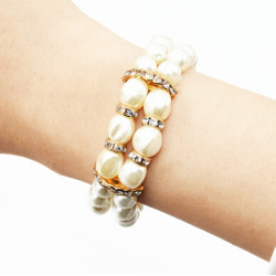 B-0967 Korean Fashion Double Row Faux Pearl Crystal Bracelet and Bangle for women Jewelry Design