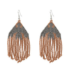 E-5292  6 Colors Mini Rice Beads Long Tassel Earrings Eagle Pattern Elegant Earring for Woman Party Jewelry