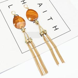 E-5294 Luxury Long Tassel Drop Earrings Gold Metal Acrylic Oval Shaped Pendant Earrings Women Bijoux Jewelry