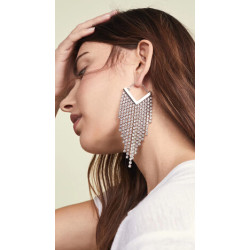 E-5295  4 Colors Fashion Crystal Rhinestone Long Tassel Drop Earrings for Women Party Statement Jewelry
