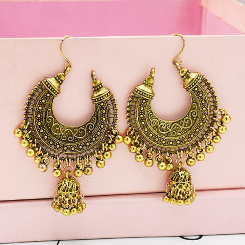 E-5296 Vintage Silver Gold Color Drop Dangle Earring Zamak Bells Tassel Statement Earring for Women Indian Party Jewelry