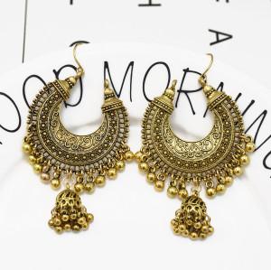 E-5296 Vintage Silver Gold Color Drop Dangle Earring Zamak Bells Tassel Statement Earring for Women Indian Party Jewelry