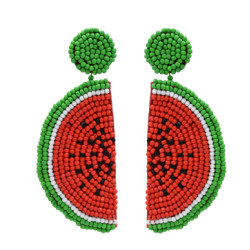 E-5299 Cute Girl Resin Beads Fruit Watermelon Shape Drop Earrings For Women Statement Party Jewelry
