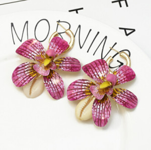 E-5298 Fashion Summer Sea Style Natural Shell Big Flower Pendant Earrings for Women's Jewelry Design