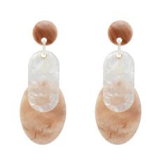 E-5305  3 Colors Acrylic Drop Dangle Oval Shape Pattern Earrings For Women Jewerly