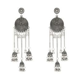 E-5307 Vintage Silver Gold Color Zamak Gypsy Indian Bells Long Tassel Statement Earrings For Women Boho Jewelry