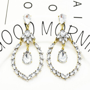 E-5310 ashion 2 Color Colorful Clear Inlay Crystal Rhinestone Dangle Long Earrings For Women Wedding Jewelry