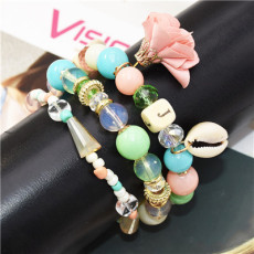 B-0970 Set of 3 Bracelets Acrylic Beads Shell Alloy Cloth Flower Bracelet for Woman Bracelet&Bangle