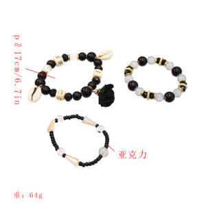 B-0970 Set of 3 Bracelets Acrylic Beads Shell Alloy Cloth Flower Bracelet for Woman Bracelet&Bangle