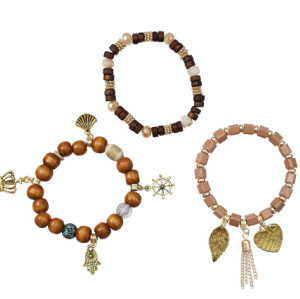 B-0972 3Pcs/Set Fashion Acrylic Wood Beaded Bracelets with Heart Leaf Pendant Women Boho Party Jewelry