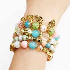 B-0973 4Pcs/Set Fashion Beaded Bracelets with Leaf Pendant Women Boho Party Jewelry