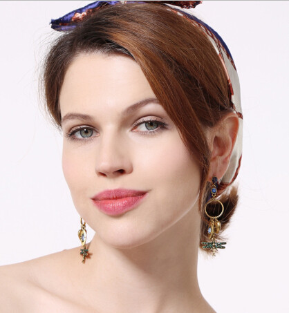 E-5313 Vintage Gold Rhinestone Dragonfly Pendant Long Drop Earrings for Women Boho Party Jewelry