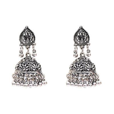E-5312 Vintage Silver Zamak Hollow Indian Bells Tassel Earrings For Women Jewellry