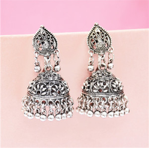 E-5312 Vintage Silver Zamak Hollow Indian Bells Tassel Earrings For Women Jewellry