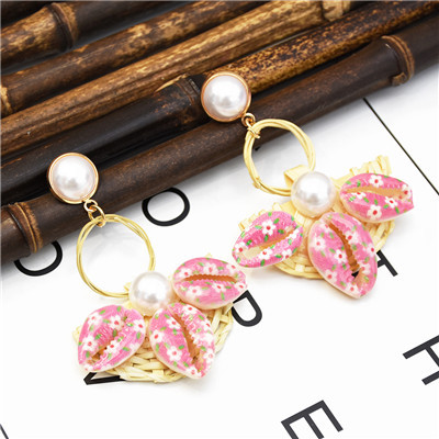 E-5315  5 Colors Fashion Youth Rattan Pearl Sea Shell Beach Earrings Drop Dangle Earring for Woman