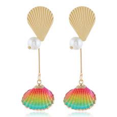 E-5316  5 Colors  Bohemia Pearl Earrings Sea Shell Beach Earrings Drop Dangle Earring for Woman