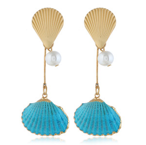 E-5316  5 Colors  Bohemia Pearl Earrings Sea Shell Beach Earrings Drop Dangle Earring for Woman