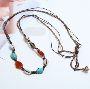 N-7234  2 Style Ethnic Beach Natural Sea Shell Rope Chain Necklace Choker For Women Jewerly