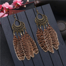 E-5320  2 Styles Vintage Bronze Alloy Feather National Style Earring for Woman Jewellry Bohemian Jewelry