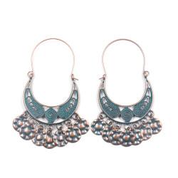 E-5319 Vintage Bronze Color Zamak Indian Carved Flower  Drop Earrings For Women Boho Jewelry