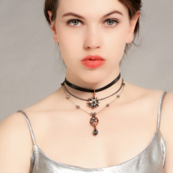 N-7232 Multi-Layer Star Beads Rhinestone crystal Leather Chain Necklace Choker For Women Party Gifts Jewelry