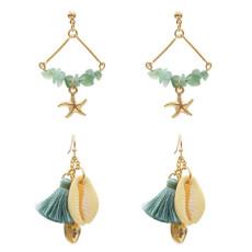 E-5330  5 Colors Sea Shell Beach Earrings Gravel Tassel Drop Dangle Earring for Woman