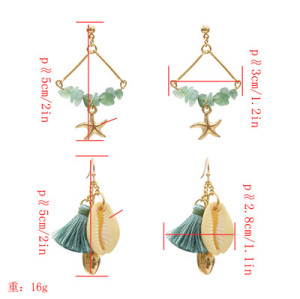 E-5330  5 Colors Sea Shell Beach Earrings Gravel Tassel Drop Dangle Earring for Woman