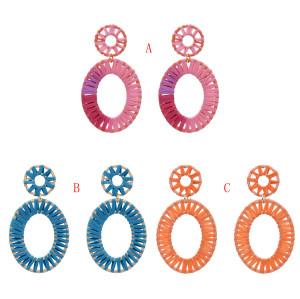 E-5327  3 Colors Boho Straw Woven Earrings Handmade Drop Earrings Dangle Geometric Statement Earrings for Women Girls