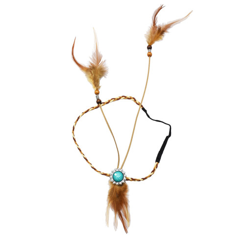 F-0430 Handmade Ethnic Rope Leather Brown Feather Headbands Wood Beads Boho Hair Accessories Fashion Jewelry