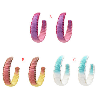 E-5328  3 Colors Hand-Knitted Rattan Round Ear Hanging Simple Jewelry for Woman Jewellry