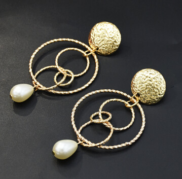 E-5331  2 Style Fashion Natural Pearl Sea Shell Beach Earrings Geometric Circle Drop Dangle Earring for Women