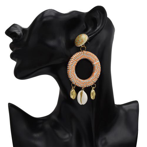 E-5333  4 Color Hand-woven Geometric Circle Drop Dangle Earring Fashion Natural Pearl Sea Shell Beach Earrings for Women
